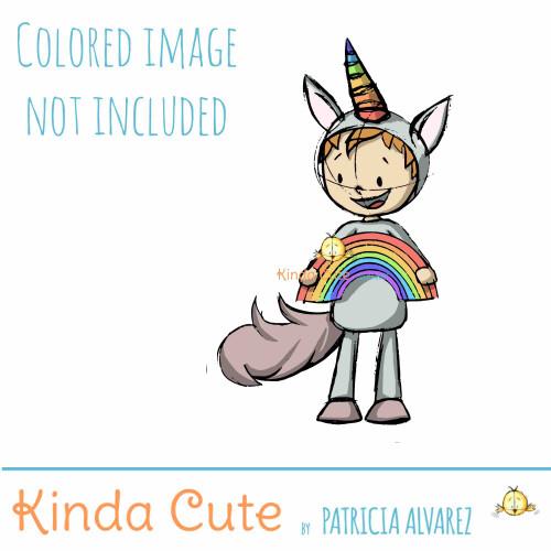 Boy in unicorn costume sketch digital stamp