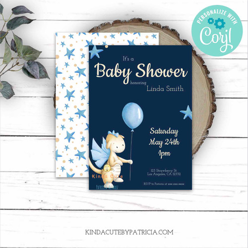 Baby Dragon with Balloon Baby Shower Invitation