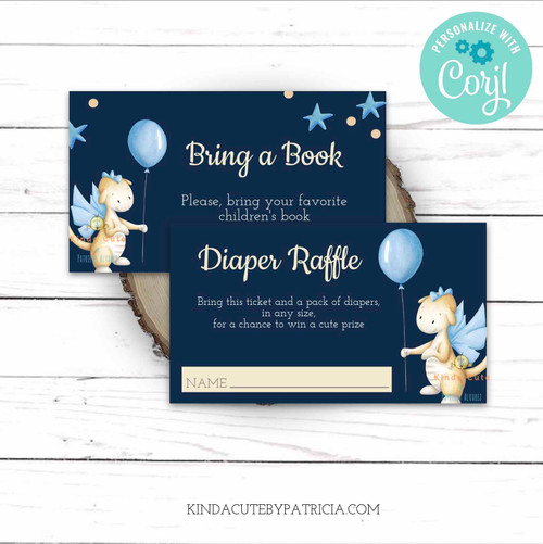 Personalized Dragon Diaper Raffle and Bring a Book Tickets