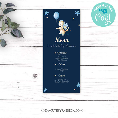 Dragon Baby Shower Menu Card. Printable file.