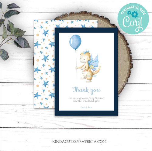 Dragon Themed Baby Shower Thank You flat cards. Printable file.