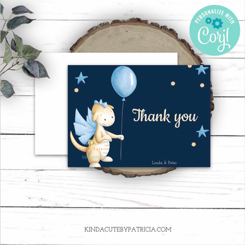 Dragon Thank You folded cards. Printable file.