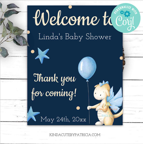 Baby Dragon Baby Shower Welcome Poster. Editable file