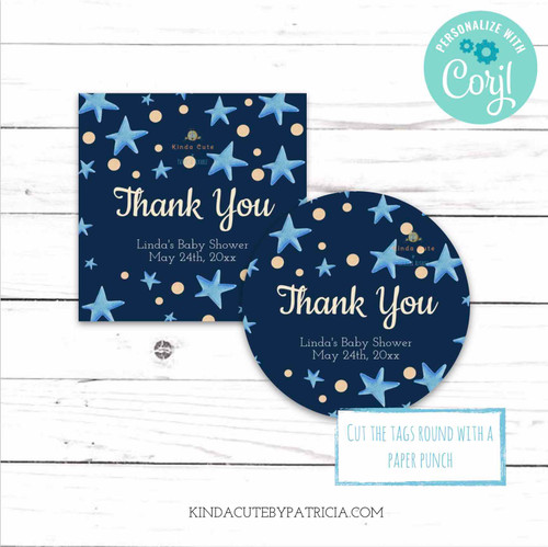 Blue stars Thank You Stickers. Printable file.
