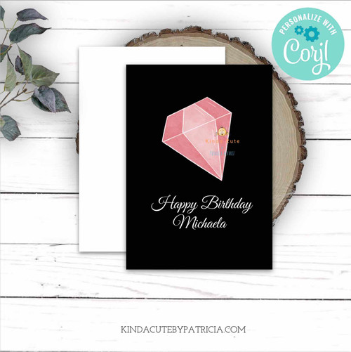 Pink Diamond Personalized Birthday Card. Printable file.