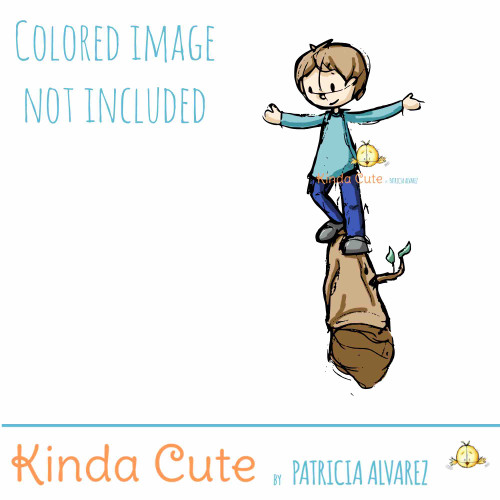 Boy balancing sketch digital stamp
