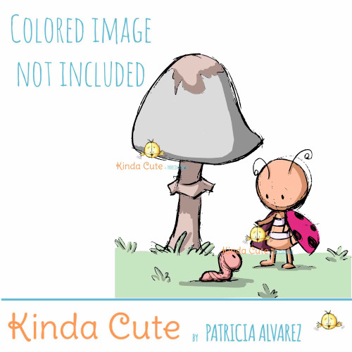 Ladybug and mushroom sketch digital stamp