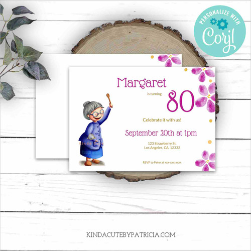 Grandmother with wooden spoon Birthday Invitation. Printable file. Editable