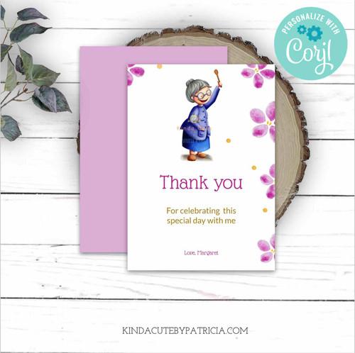 Thank you birthday card for grandma. Printable file.