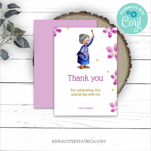 Thank you birthday card for grandma. Printable file.