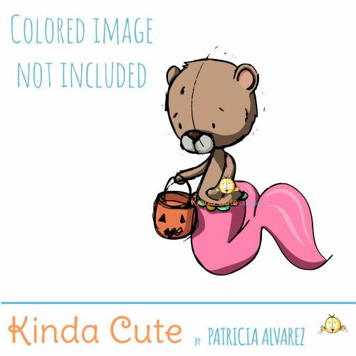 Mer Bear Halloween Sketch Digital Stamp