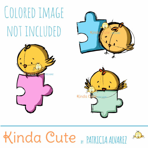 Autism awareness digital stamp set with birds and puzzle pieces.