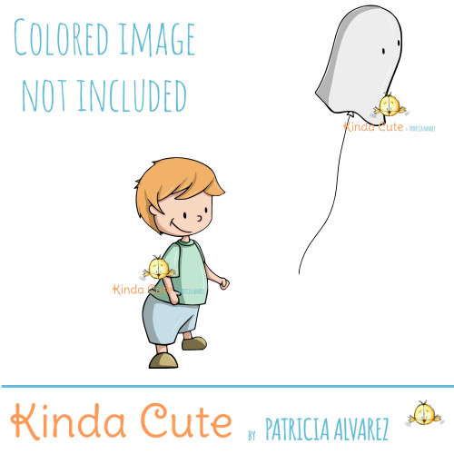 Boy with ghost balloon digital stamp