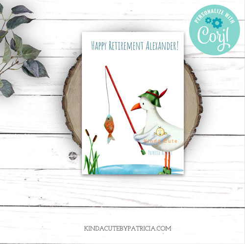 Printable Retirement Card with a Seagull Fishing