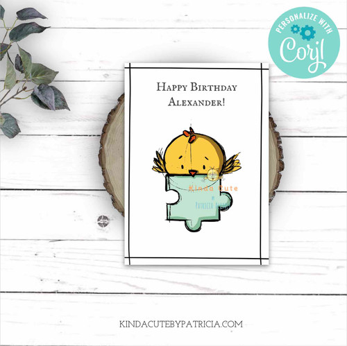 Bird and puzzle piece Birthday Printable Card. Editable file