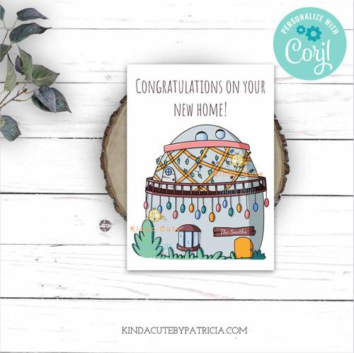 New House Congratulations Printable Card. Editable file.