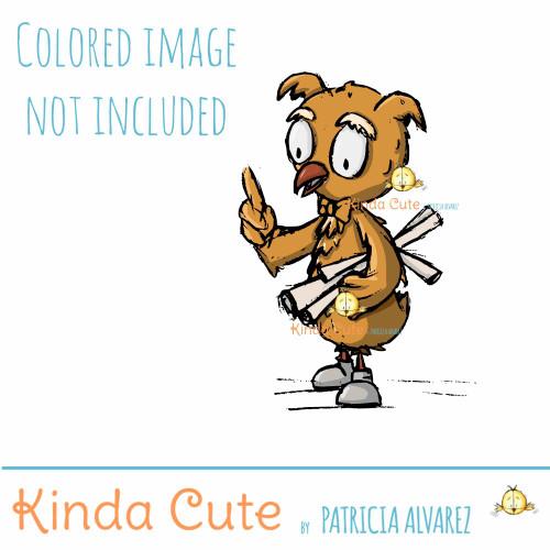 Professor Owl Sketch Digital Stamp