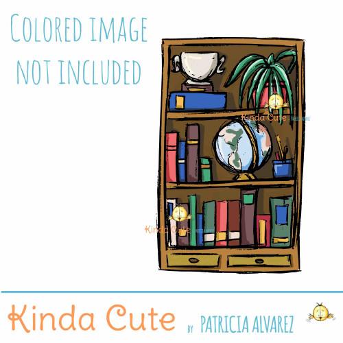 Office Room Bookcase sketch Digital Stamp