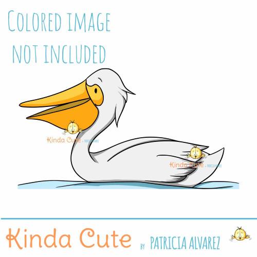 Pelican in the Water Digital Stamp