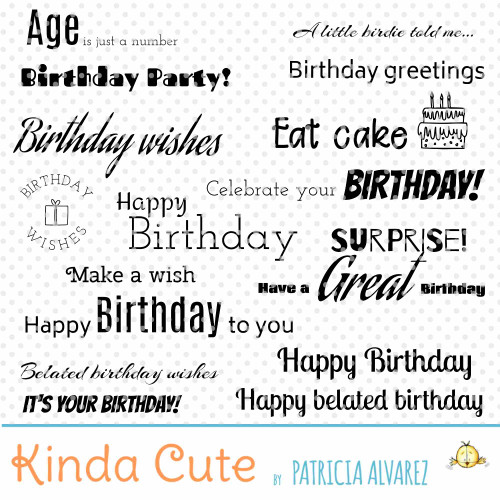 Birthday Sentiments Basics Digital Stamp Set