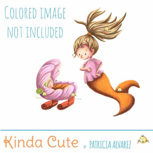 Mermaid and newborn Digital Stamp