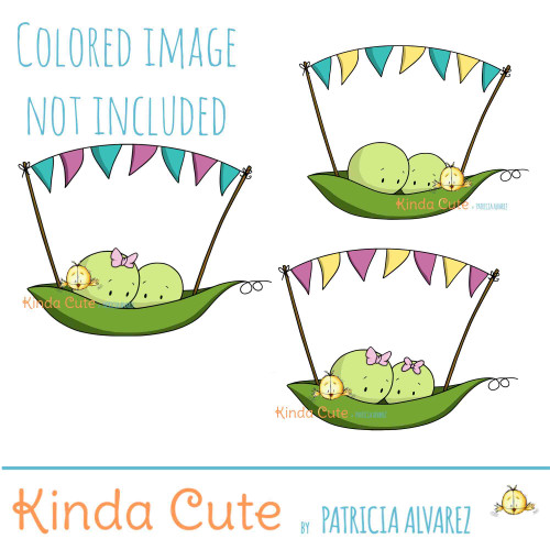 Two peas and a garland Digital Stamp Set