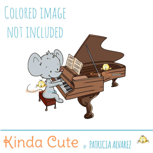 Mouse playing the piano digital stamp