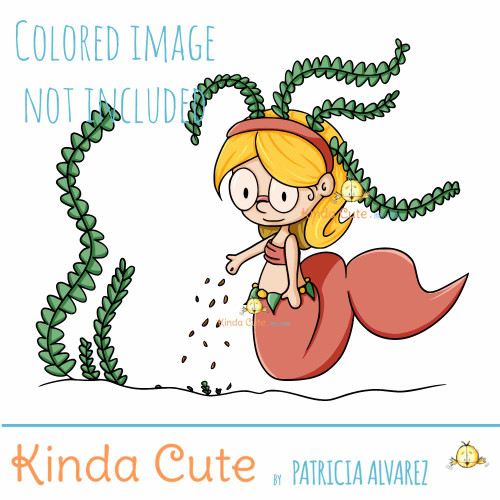 Mermaid and newborn Digital Stamp