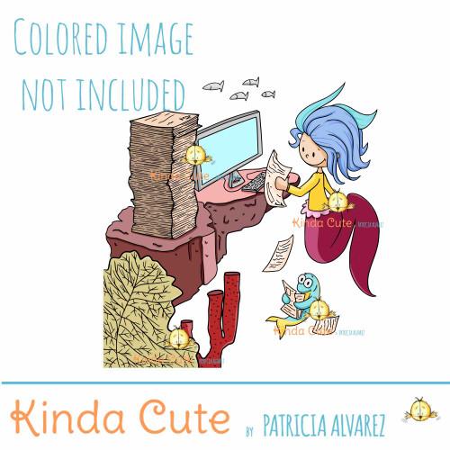Office Mermaid Digital Stamp