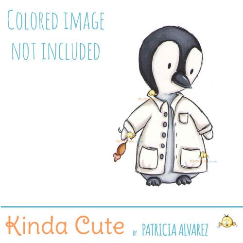 Penguin Scientist digital stamp