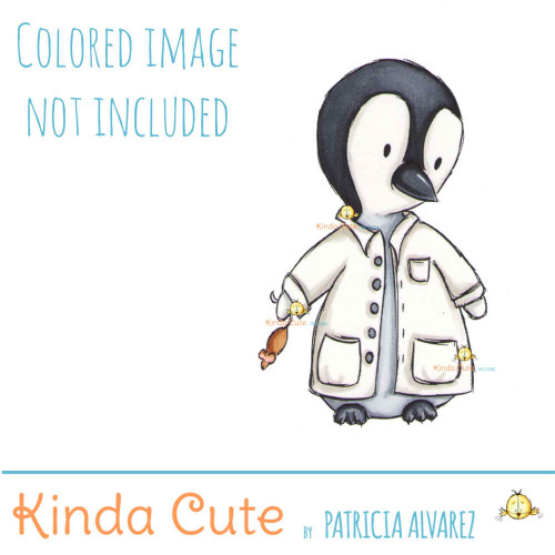 Penguin Scientist digital stamp