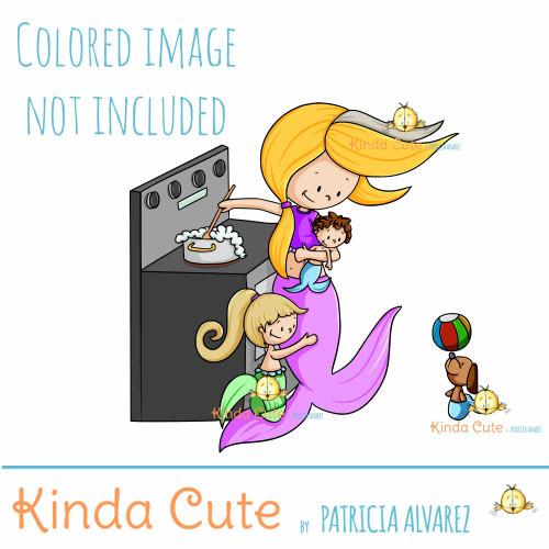 Busy Mom Mermaid Digital Stamp