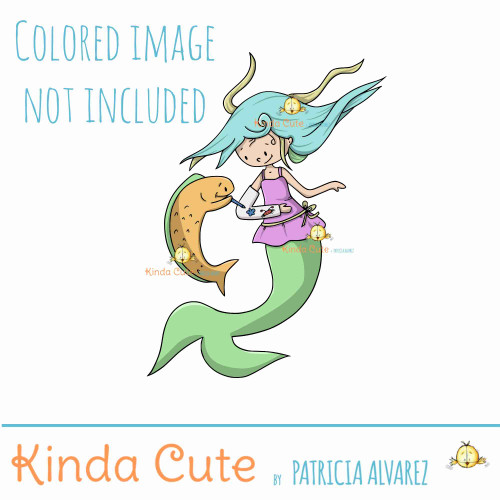 Injured Mermaid Digital Stamp