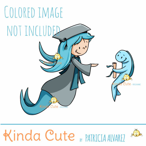 Graduate Mermaid Digital Stamp