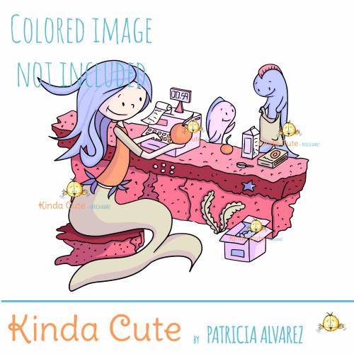 Cashier Mermaid Digital Stamp