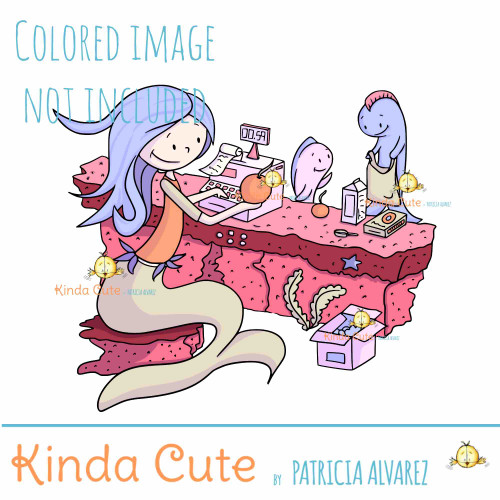 Cashier Mermaid Digital Stamp