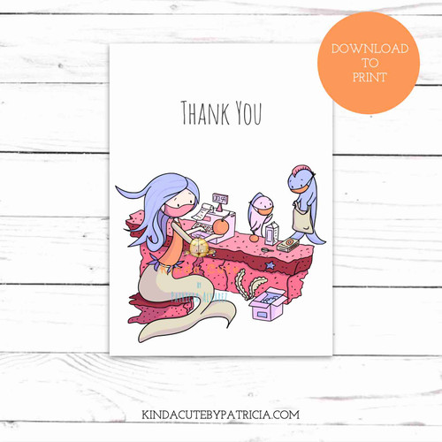 Thank You Cashier Mermaid Pandemic Printable Card