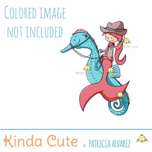 Cowgirl Mermaid Digital Stamp