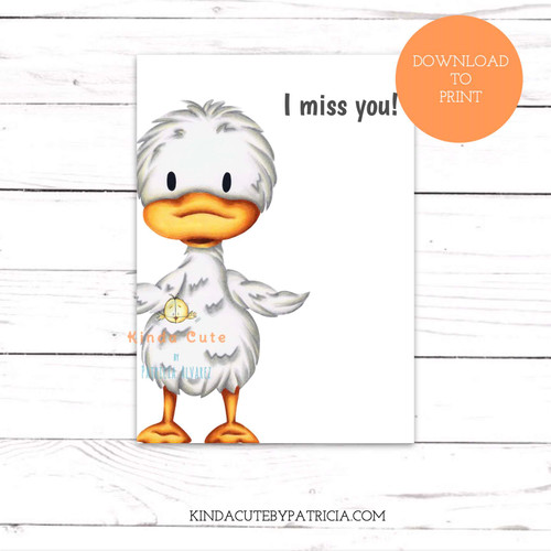 Missing you card with a little duck. Printable file