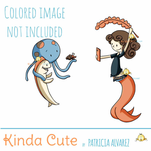 Photographer Mermaid Digital Stamp