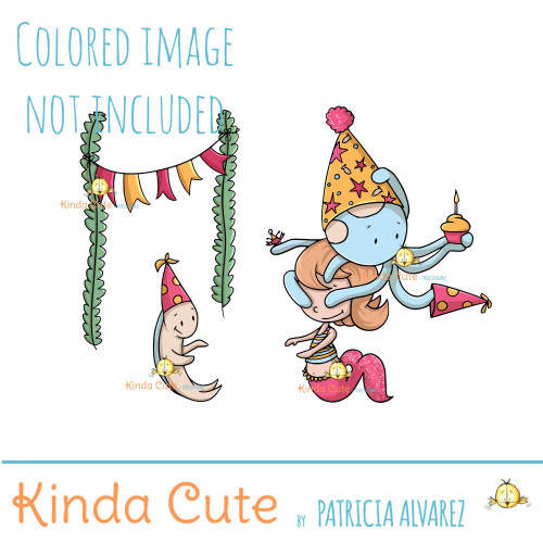 Mermaid Birthday Digital Stamp