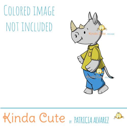 Rhinoceros with Pants Digital Stamp
