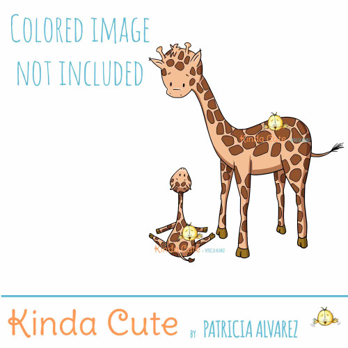 Giraffe Teaching Yoga Digital Stamp
