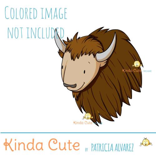 Smiley Bison face digital stamp