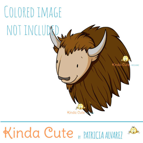 Smiley Bison face digital stamp