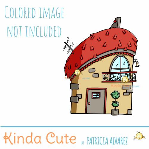 Weird house digital stamp