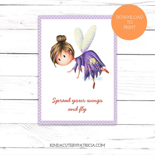 Good luck card with a little fairy. Printable file.