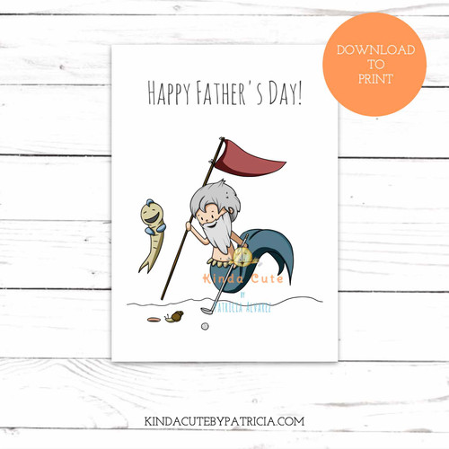 Father's day card with a merman playing golf. Printable file