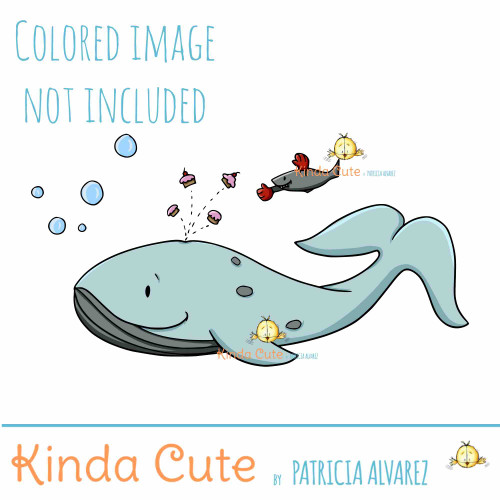 Cupcake Whale digital stamp
