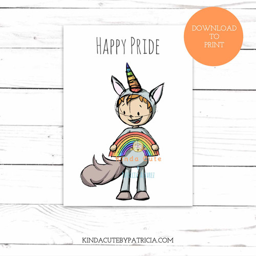 Happy Pride Boy with Rainbow in a Unicorn Costume. Printable card.